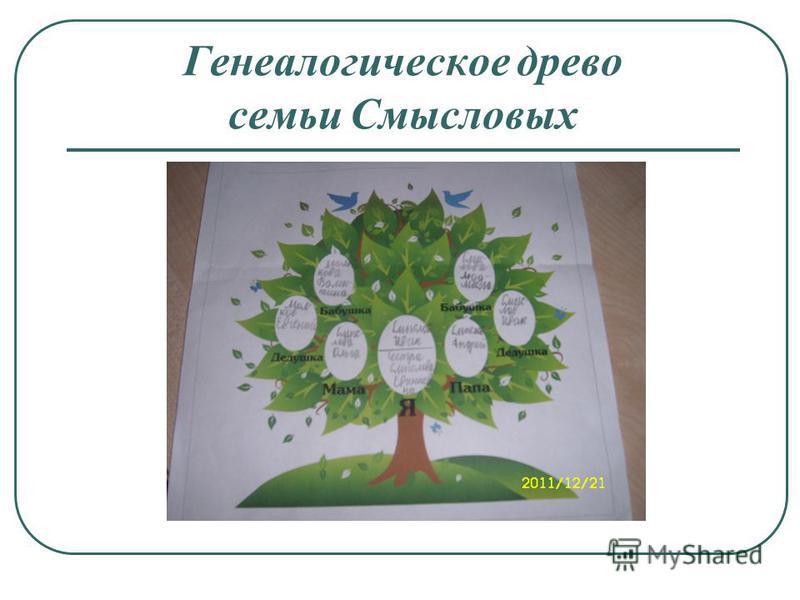 Генеалогическое древо семьи Ссмысловых