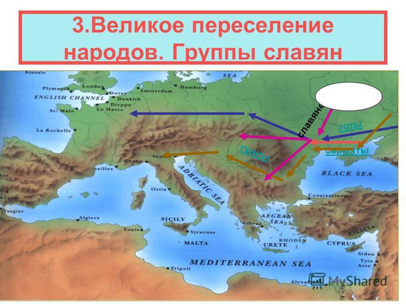 3. Великое переселение народов. Группы славян сарматы готы гунны славяне