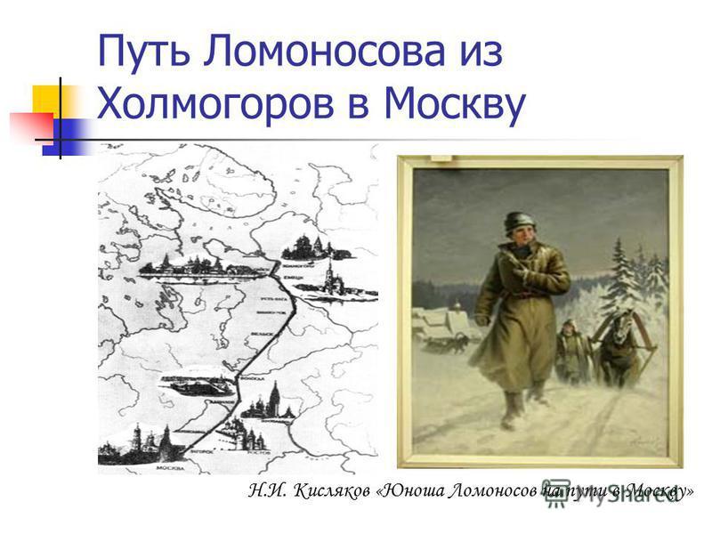 Путь Ломоносова из Холмогоров в Москву Н.И. Кисляков «Юноша Ломоносов на пути в Москву»
