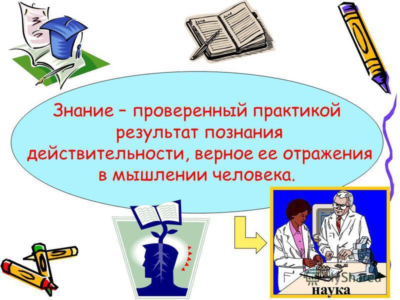 Знание – проверенный практикой результат познания действительности, верное ее отражения в мышлении человека. наука
