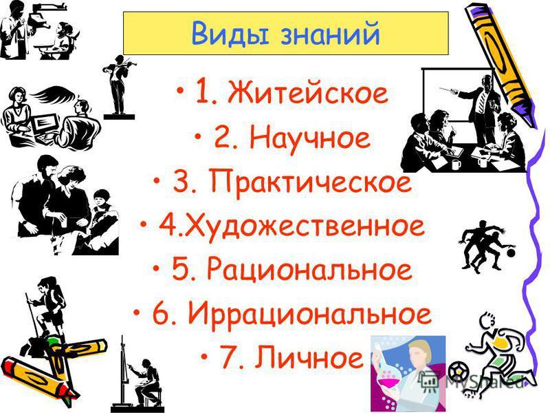 1. Житейское 2. Научное 3. Практическое 4. Художественное 5. Рациональное 6. Иррациональное 7. Личное Виды знаний