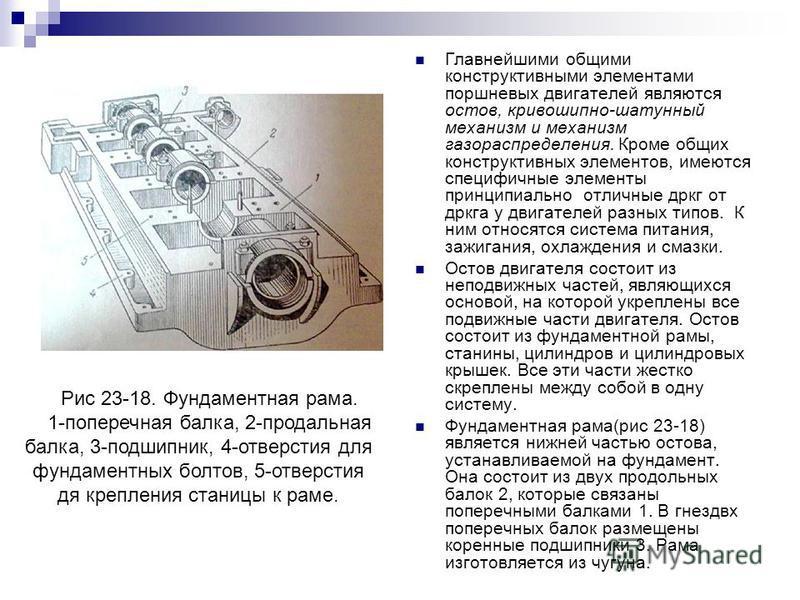Главнейшими общими конструктивными элементами поршневых двигателей являются остов, кривошипно-шатунный механизм и механизм газораспределения. Кроме общих конструктивных элементов, имеются специфичные элементы принципиально отличные друг от друга у дв
