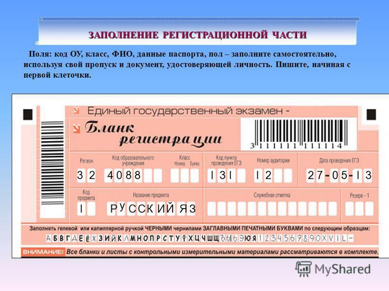 ЗАПОЛНЕНИЕ РЕГИСТРАЦИОННОЙ ЧАСТИ 32I у ССIКИЯЗ 3I227503II Й Поля: код ОУ, класс, ФИО, данные паспорта, пол – заполните самостоятельно, используя свой пропуск и документ, удостоверяющей личность. Пишите, начиная с первой клеточки. Р 4088