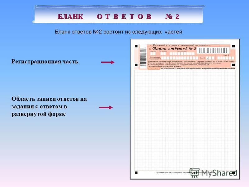 Регистрационная часть БЛАНК О Т В Е Т О В 2 Бланк ответов 2 состоит из следующих частей Область записи ответов на задания с ответом в развернутой форме
