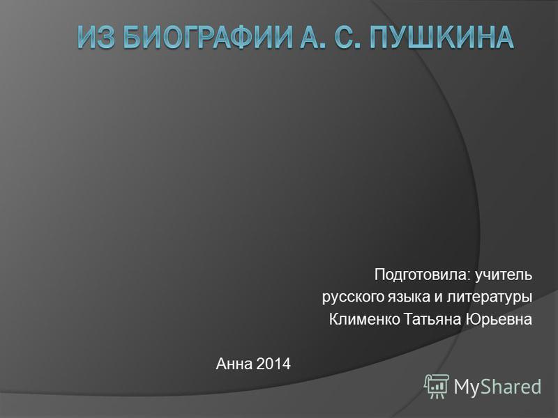 Подготовила: учитель русского языка и литературы Клименко Татьяна Юрьевна Анна 2014