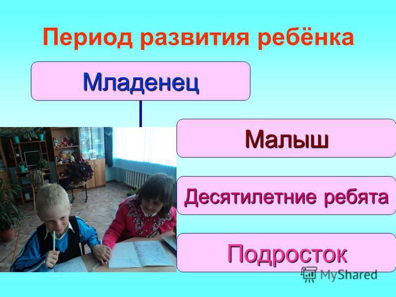 Период развития ребёнка Младенец Малыш Десятилетние ребята Подросток