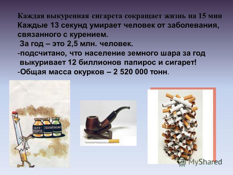 Каждая выкуренная сигарета сокращает жизнь на 15 мин Каждые 13 секунд умирает человек от заболевания, связанного с курением. За год – это 2,5 млн. человек. -подсчитано, что население земного шара за год выкуривает 12 биллионов папирос и сигарет! -Общ