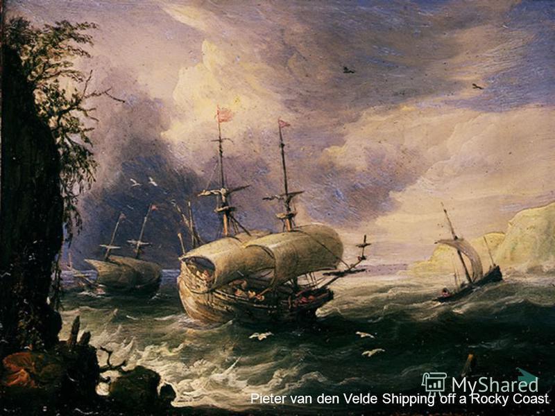Pieter van den Velde Shipping off a Rocky Coast