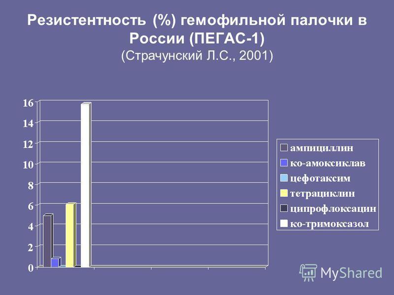 Резистентность (%) гемофильной палочки в России (ПЕГАС-1) (Страчунский Л.С., 2001)