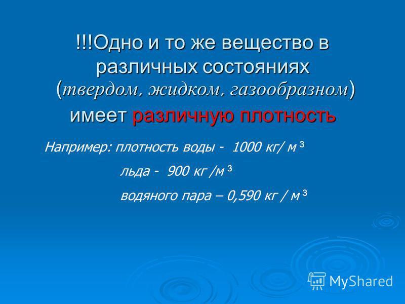 !!!Одно и то же вещество в различных состояниях (твердом, жидком, газообразном) имеет различную плотность Например: плотность воды - 1000 кг/ м 3 льда - 900 кг /м 3 водяного пара – 0,590 кг / м 3