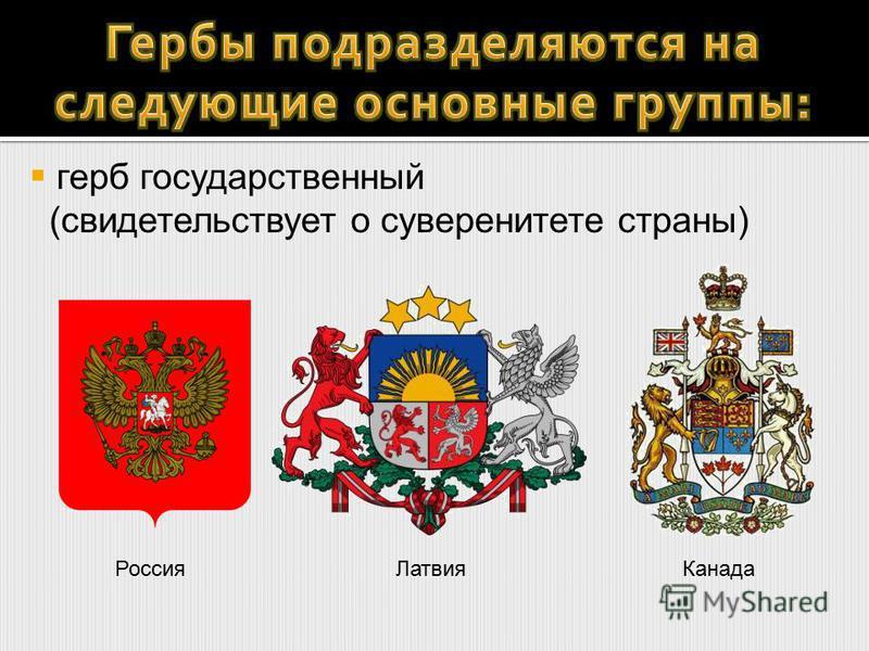 Россия ЛатвияКанада герб государственный (свидетельствует о суверенитете страны)