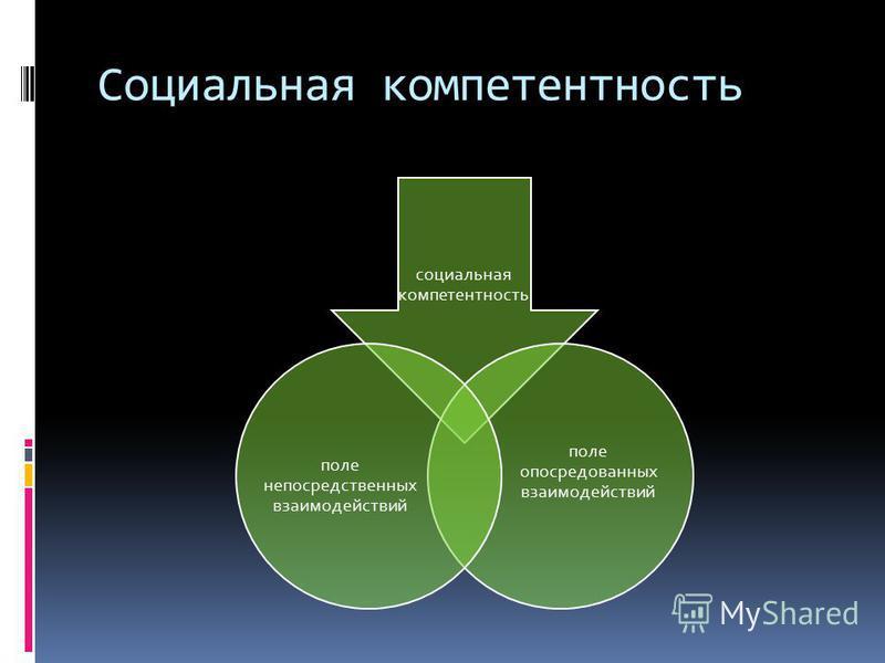 Социальная компетентность социальная компетентность поле опосредованных взаимодействий поле непосредственных взаимодействий