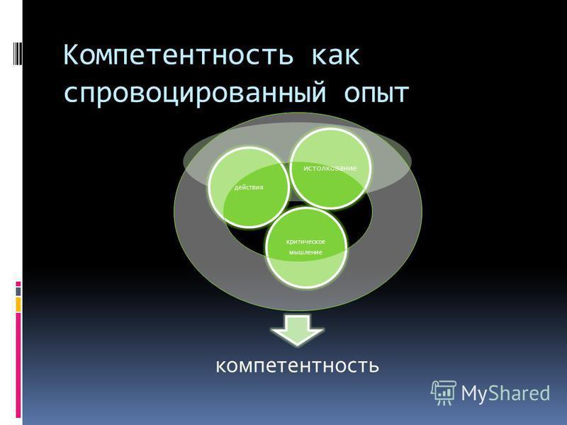 Компетентность как спровоцированный опыт компетентность критическое мышление действия истолкование