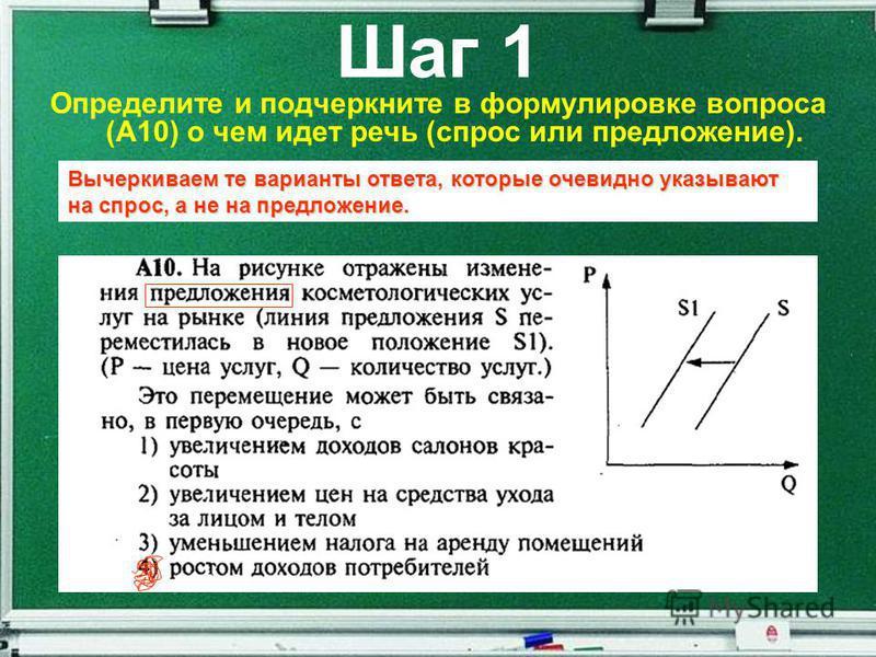 Шаг 1 Определите и подчеркните в формулировке вопроса (А10) о чем идет речь (спрос или предложение). Вычеркиваем те варианты ответа, которые очевидно указывают на спрос, а не на предложение.
