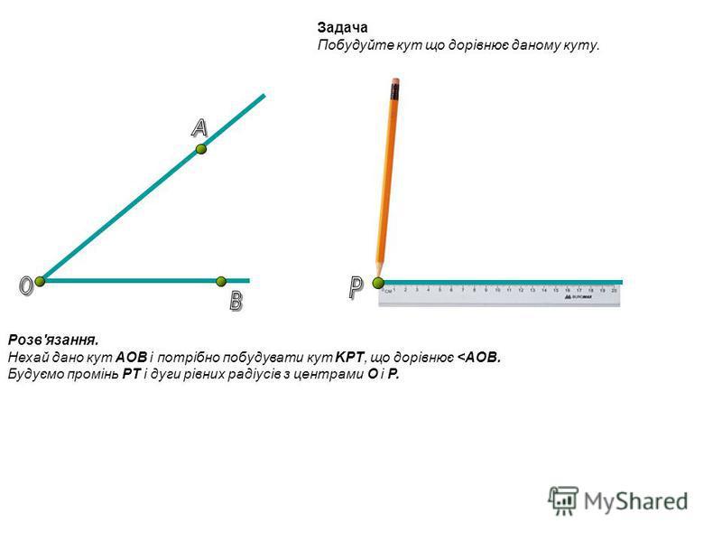 Задача Побудуйте кут що дорівнює даному куту. Розв'язання. Нехай дано кут AOB і потрібно побудувати кут KPT, що дорівнює <AOB. Будуємо промінь PT і дуги рівних радіусів з центрами O і P.