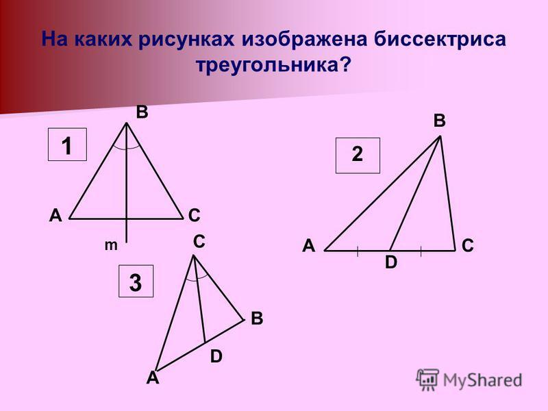 На каких рисунках изображена биссектриса треугольника? AC m B 1 D AC B 2 A C D B 3