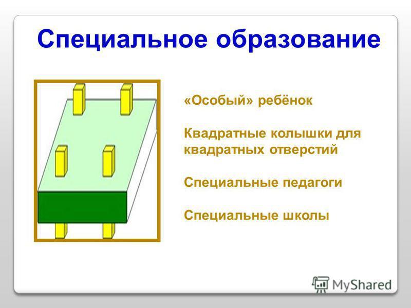 Специальное образование «Особый» ребёнок Квадратные колышки для квадратных отверстий Специальные педагоги Специальные школы