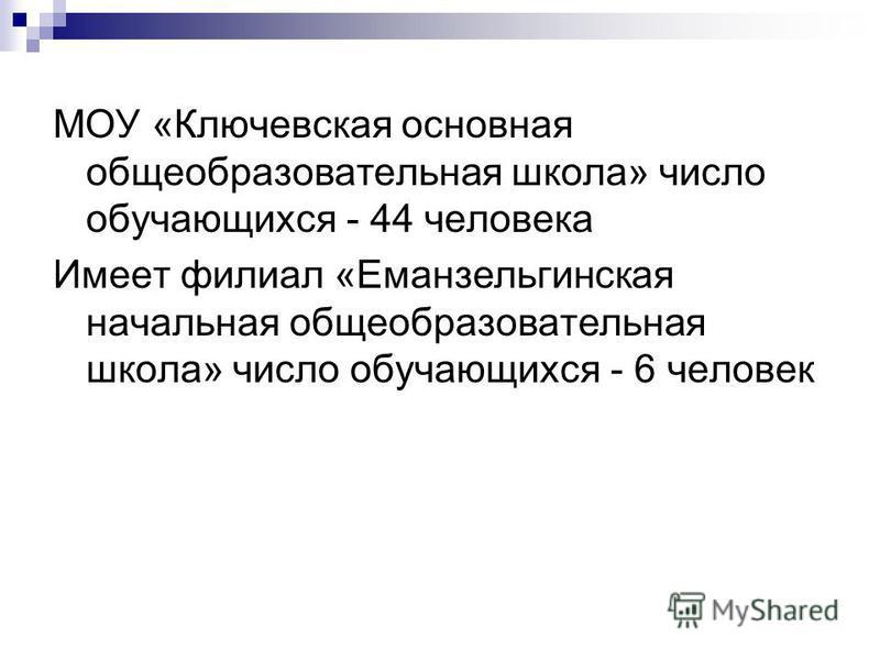 МОУ «Ключевская основная общеобразовательная школа» число обучающихся - 44 человека Имеет филиал «Еманзельгинская начальная общеобразовательная школа» число обучающихся - 6 человек