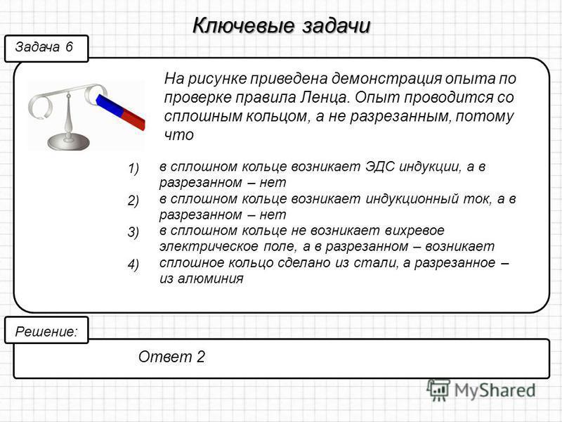 Ключевые задачи На рисунке приведена демонстрация опыта по проверке правила Ленца. Опыт проводится со сплошным кольцом, а не разрезанным, потому что Задача 6 Решение: Ответ 2 1) в сплошном кольце возникает ЭДС индукции, а в разрезанном – нет 2) в спл