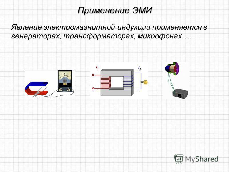 Применение ЭМИ Явление электромагнитной индукции применяется в генераторах, трансформаторах, микрофонах …