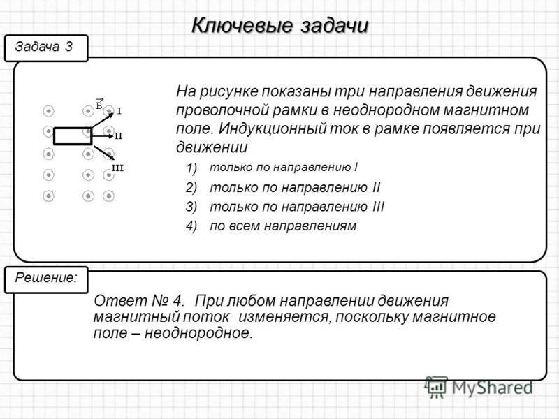Ключевые задачи На рисунке показаны три направления движения проволочной рамки в неоднородном магнитном поле. Индукционный ток в рамке появляется при движении Задача 3 Решение: Ответ 4. При любом направлении движения магнитный поток изменяется, поско