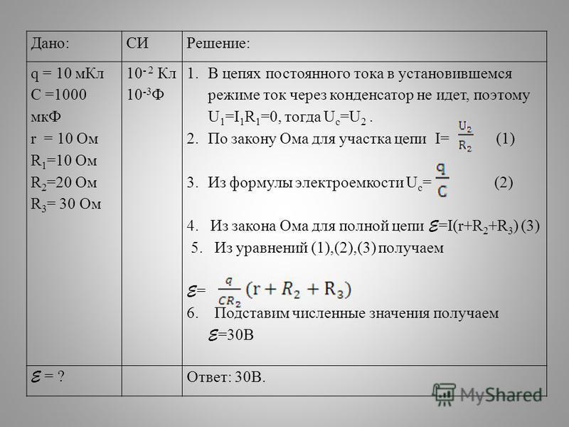 Дано:СИРешение: q = 10 м Кл C =1000 мкФ r = 10 Ом R 1 =10 Ом R 2 =20 Ом R 3 = 30 Ом 10 - 2 Кл 10 -3 Ф 1. В цепях постоянного тока в установившемся режиме ток через конденсатор не идет, поэтому U 1 =I 1 R 1 =0, тогда U c =U 2. 2. По закону Ома для уча