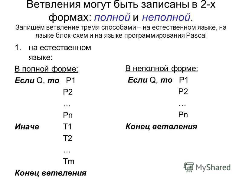 Ветвления могут быть записаны в 2-х формах: полной и неполной. Запишем ветвление тремя способами – на естественном языке, на языке блок-схем и на языке программирования Pascal 1. на естественном языке: В полной форме: Если Q, то P1 P2 … Pn ИначеТ1 Т2