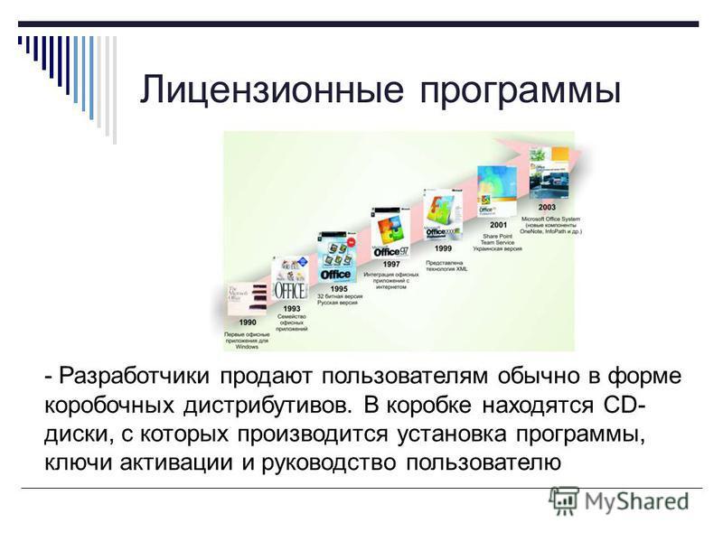 Лицензионные программы - Разработчики продают пользователям обычно в форме коробочных дистрибутивов. В коробке находятся CD- диски, с которых производится установка программы, ключи активации и руководство пользователю