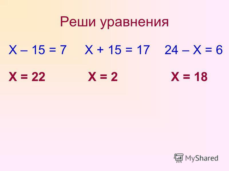 Реши уравнения Х – 15 = 7 Х + 15 = 17 24 – Х = 6 Х = 22Х = 2Х = 18