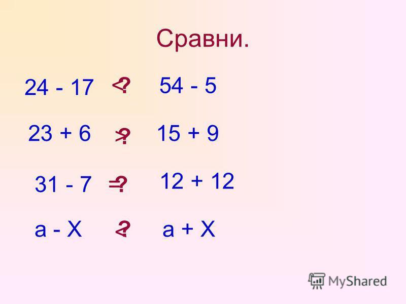 Сравни. 24 - 17 ?54 - 5 23 + 615 + 9 ? 31 - 7 12 + 12 ? а - Ха + Х? < > = <