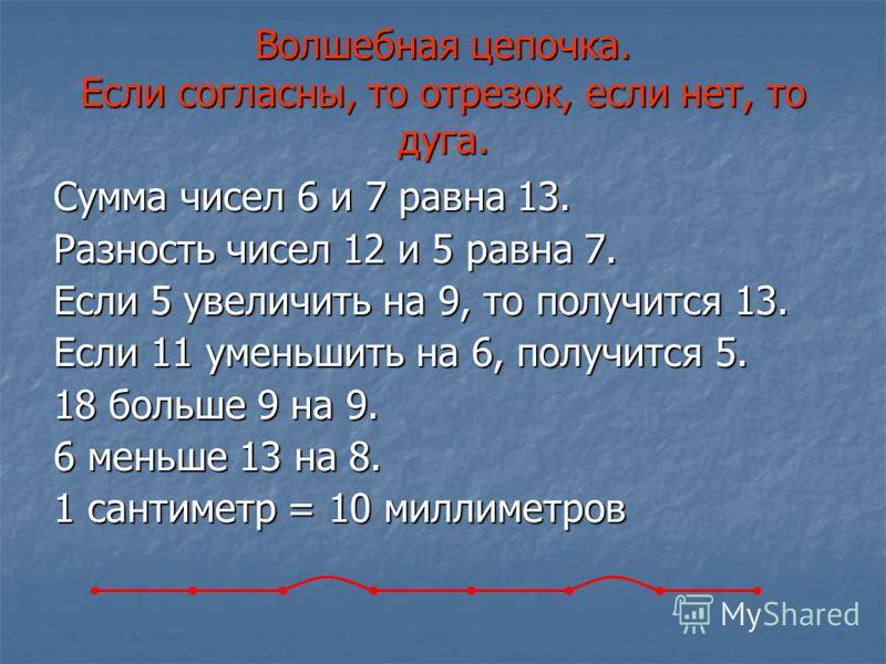 Сумма чисел 6 и 7 равна 13. Разность чисел 12 и 5 равна 7. Если 5 увеличить на 9, то получится 13. Если 11 уменьшить на 6, получится 5. 18 больше 9 на 9. 6 меньше 13 на 8. 1 сантиметр = 10 миллиметров Волшебная цепочка. Если согласны, то отрезок, есл