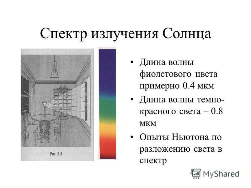 Спектр излучения Солнца Длина волны фиолетового цвета примерно 0.4 мкм Длина волны темно- красного света – 0.8 мкм Опыты Ньютона по разложению света в спектр
