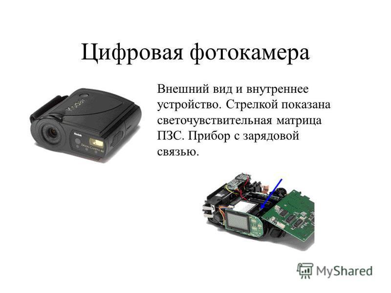 Цифровая фотокамера Внешний вид и внутреннее устройство. Стрелкой показана светочувствительная матрица ПЗС. Прибор с зарядовой связью.