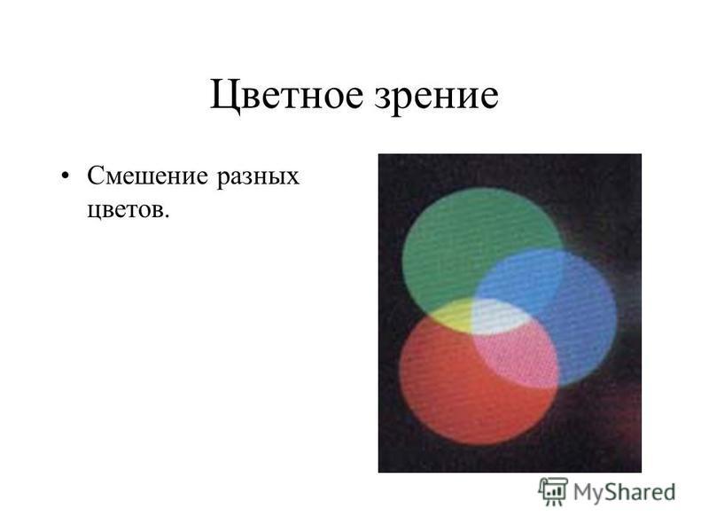 Цветное зрение Смешение разных цветов.
