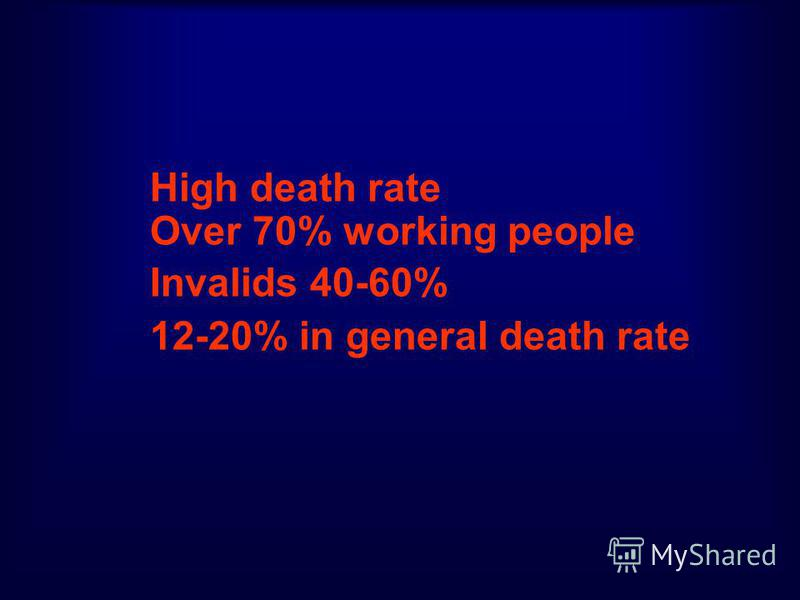 High death rate Over 70% working people Invalids 40-60% 12-20% in general death rate