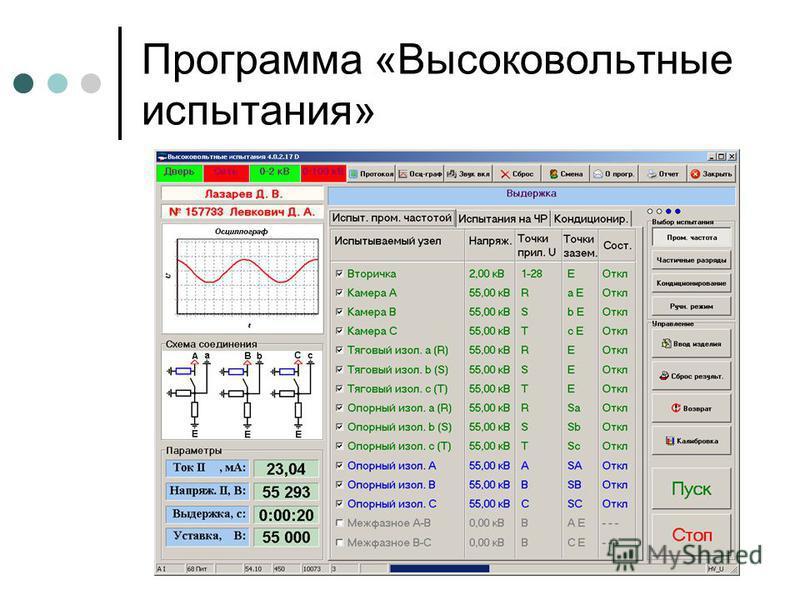 Программа «Высоковольтные испытания»