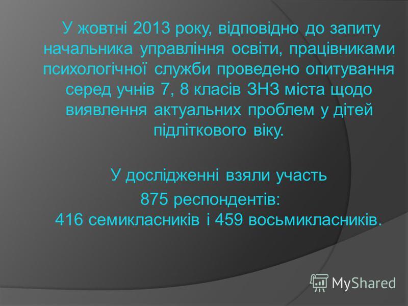У жовтні 2013 року, відповідно до запиту начальника управління освіти, працівниками психологічної служби проведено опитування серед учнів 7, 8 класів ЗНЗ міста щодо виявлення актуальних проблем у дітей підліткового віку. У дослідженні взяли участь 87