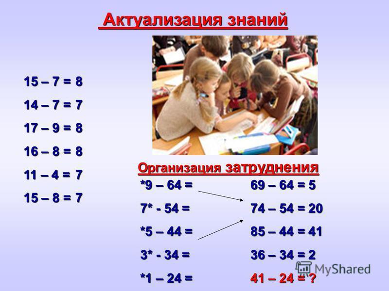 Актуализация знаний Актуализация знаний 15 – 7 = 14 – 7 = 17 – 9 = 16 – 8 = 11 – 4 = 15 – 8 = 878877 *9 – 64 = 7* - 54 = *5 – 44 = 3* - 34 = *1 – 24 = 69 – 64 = 5 74 – 54 = 20 85 – 44 = 41 36 – 34 = 2 41 – 24 = ? Организация затруднения Организация з