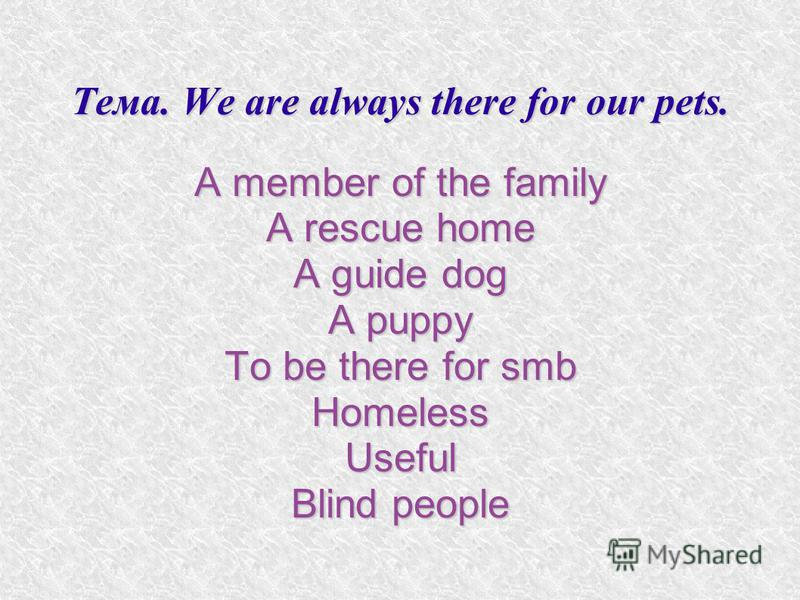 Тема. We are always there for our pets. A member of the family A rescue home A guide dog A puppy To be there for smb HomelessUseful Blind people