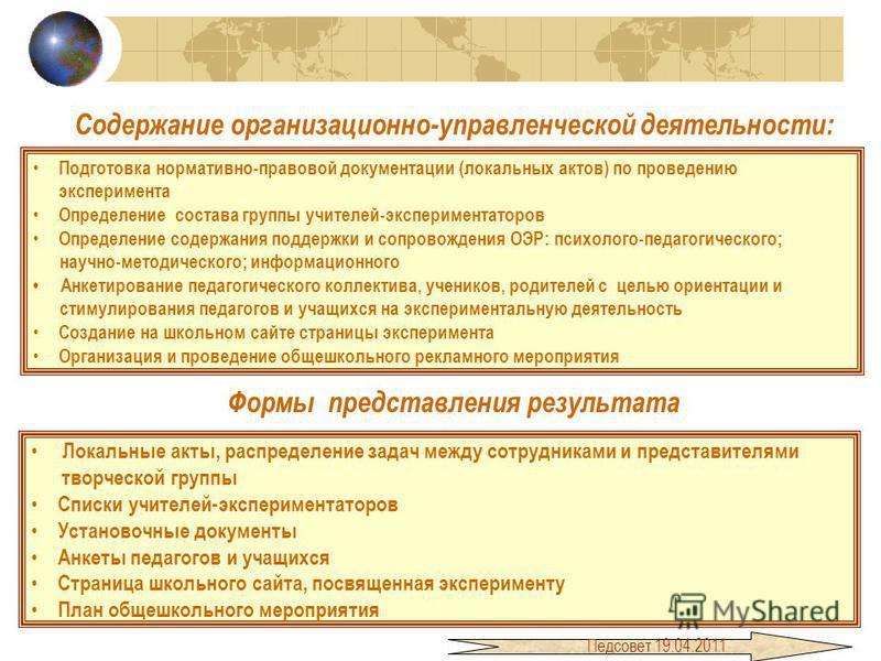 Содержание организационно-управленческой деятельности: Подготовка нормативно-правовой документации (локальных актов) по проведению эксперимента Определение состава группы учителей-экспериментаторов Определение содержания поддержки и сопровождения ОЭР