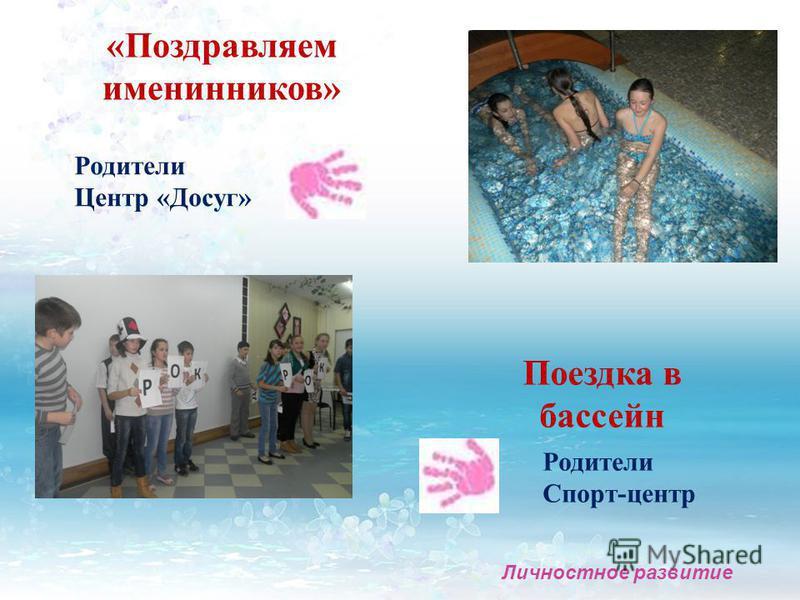 «Поздравляем именинников» Родители Центр «Досуг» Личностное развитие Поездка в бассейн Родители Спорт-центр