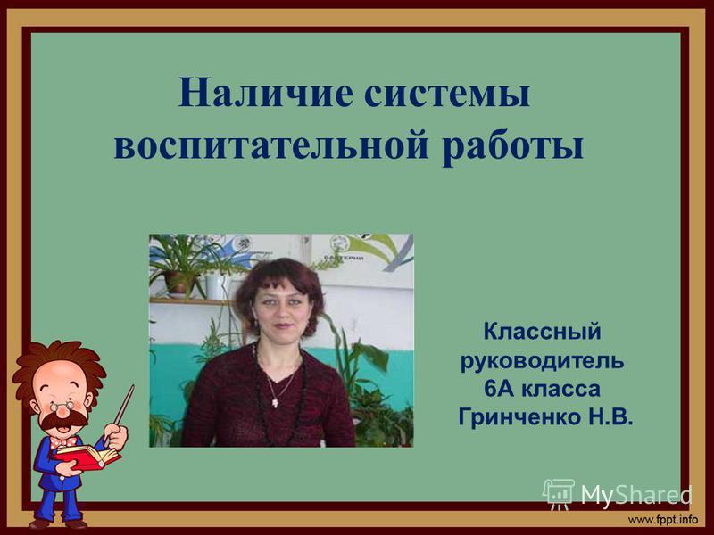 Наличие системы воспитательной работы Классный руководитель 6А класса Гринченко Н.В.