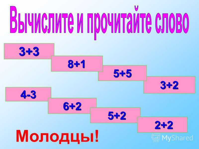 3+3 3+2 5+5 8+1 4-3 6+2 5+2 5+2 2+2 2+2 Молодцы!