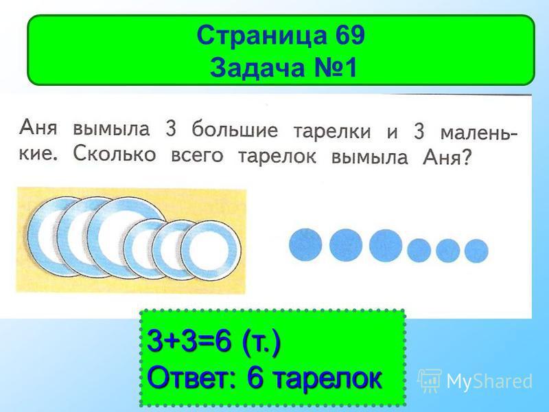 3+3=6 (т.) Ответ: 6 тарелок Страница 69 Задача 1