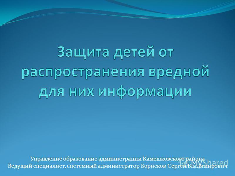 Управление образование администрации Камешковского района Ведущий специалист, системный администратор Борисков Сергей Владимирович