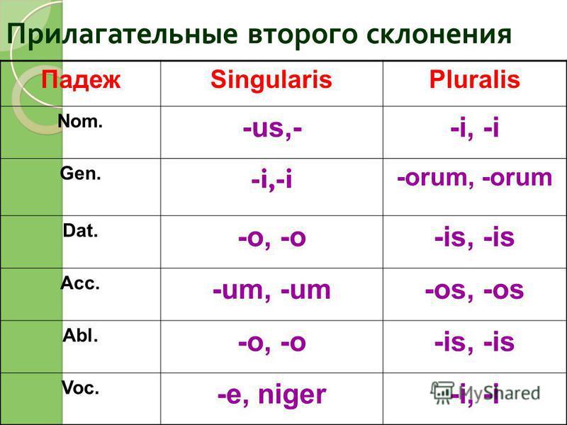 Прилагательные второго склонения ПадежSingularisPluralis Nom. -us,--i, -i Gen. -i,-i -orum, -orum Dat. -o, -o-is, -is Acc. -um, -um-os, -os Abl. -o, -o-is, -is Voc. -e, niger-i, -i