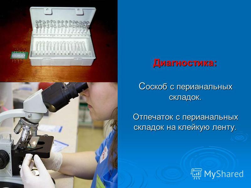 Диагностика: С оскоб с перианальных складок. Отпечаток с перианальных складок на клейкую ленту.