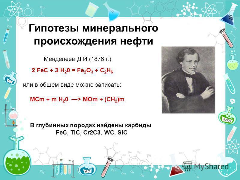 2 FeC + З Н 2 0 = Fe 2 O 3 + С 2 Н 6 или в общем виде можно записать: МСm + m Н 2 0 > МОm + (СН 2 )m. Гипотезы минерального происхождения нефти Менделеев Д.И.(1876 г.) В глубинных породах найдены карбиды FeC, TiC, Cr2C3, WC, SiC