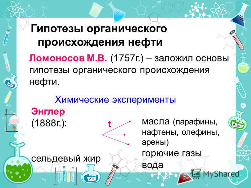 Ломоносов М.В. (1757 г.) – заложил основы гипотезы органического происхождения нефти. Химические эксперименты Энглер (1888 г.): сельдевый жир t масла (парафины, нафтены, олефины, арены) горючие газы вода Гипотезы органического происхождения нефти