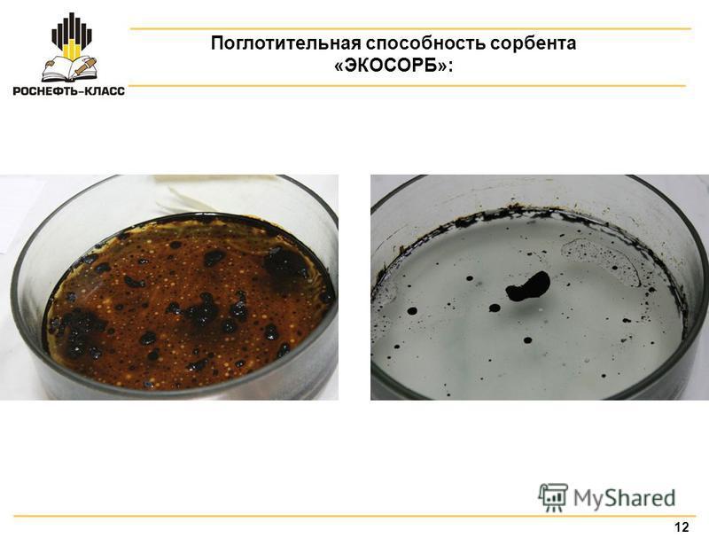 12 Поглотительная способность сорбента «ЭКОСОРБ»: